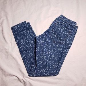 Old Navy Rock Star Skinny Jeans Blue Floral